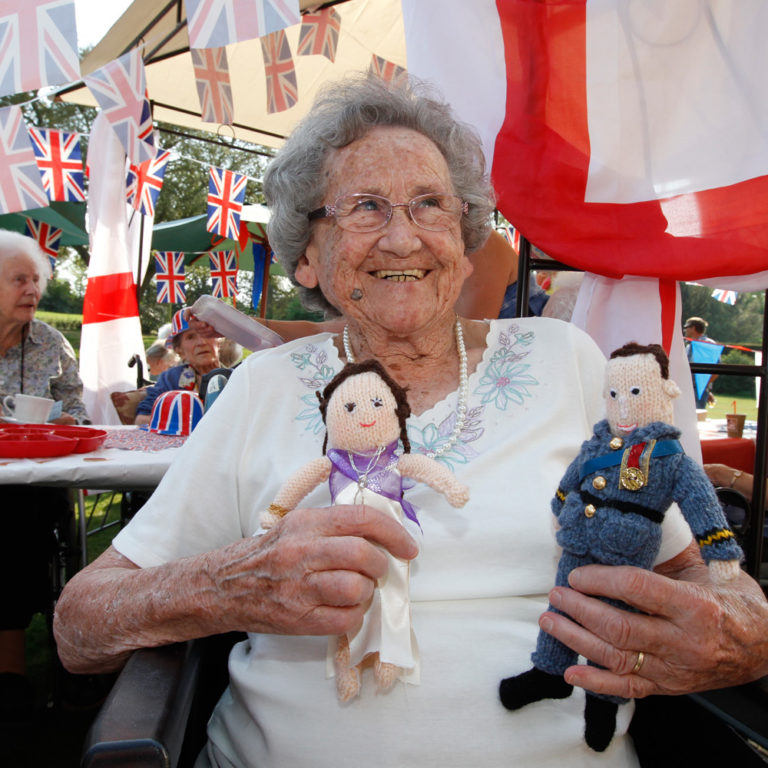 steve brading 23.04.2011 Abberton Maor Nursing Home balloon launch to mark Royal wedding next week, queen's birthday last week, Easter Weekend and St George's day. Dora Cooper, 92, with her knitted Royal Bride and Groom.