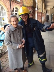 Jayne as a fireman with Margaret at Bewdley museum