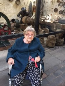 Bewdley museum - resident looking at the brass foundry finishing shop