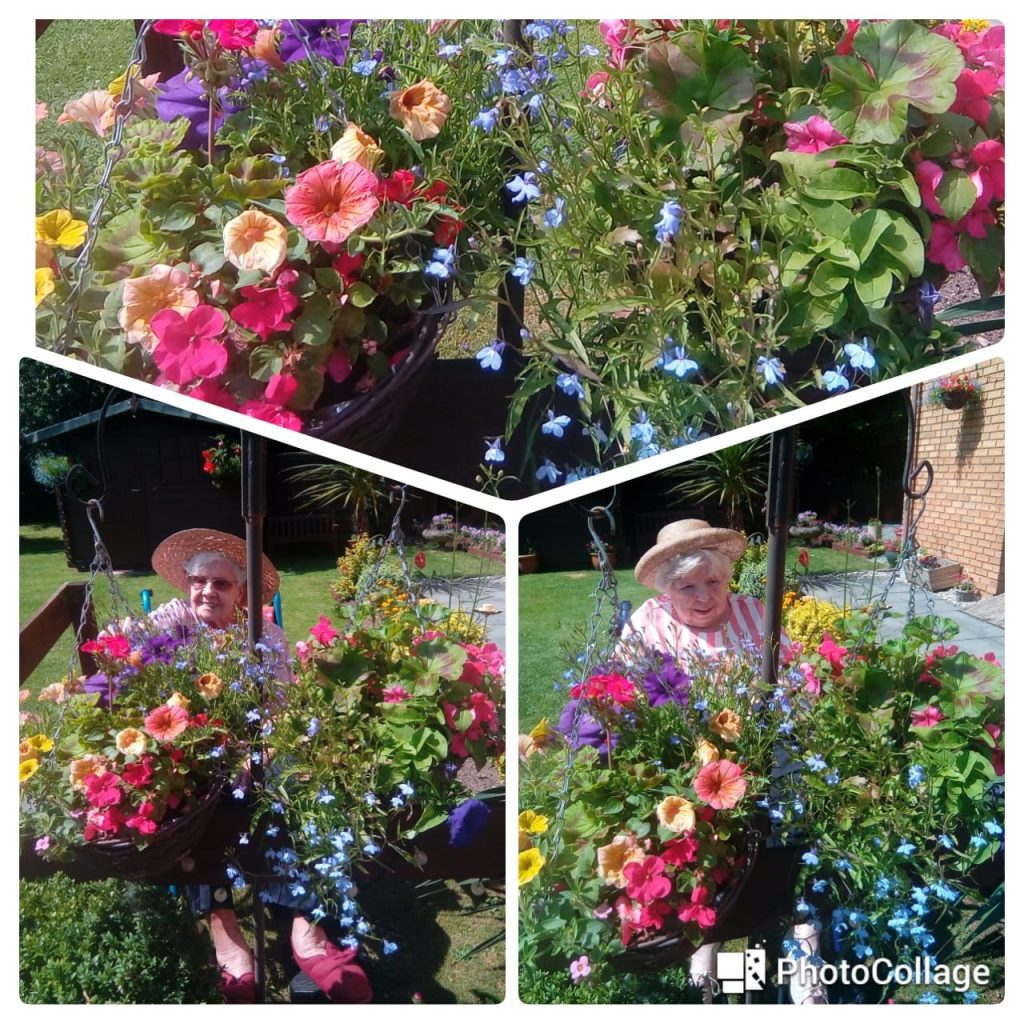 Barbara and Sheila photo collage surrounded by flowers in the garden