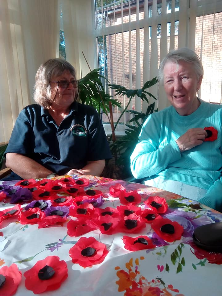 Crafting poppies at Newstead - 2019