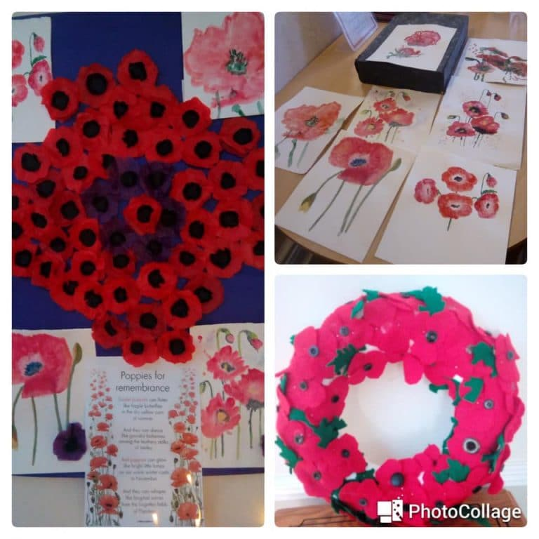 Poppy tributes for Remembrance - Newstead 2019