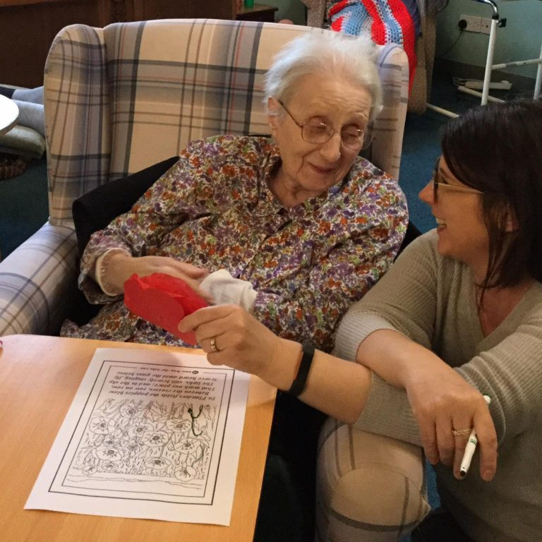 Remembrance at Summerdyne - resident and carer
