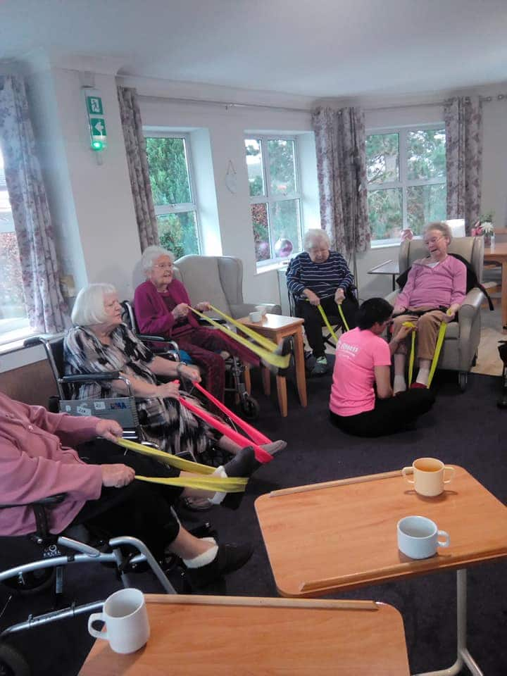 exercise class Newstead with rubber bands