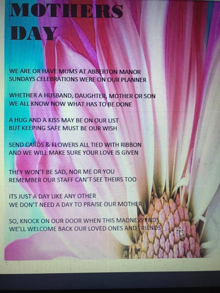poem from our team activities coordinator Carol for Mothers day