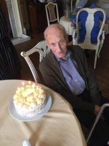 Resident Barry with birthday cake