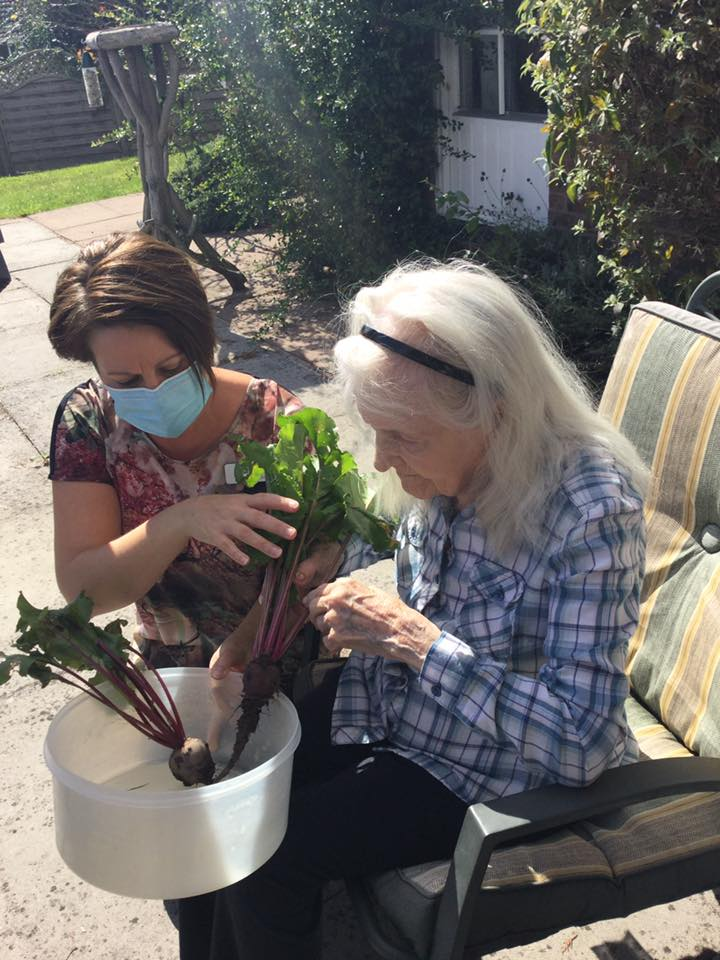 Sarah and resident pulling beetroots