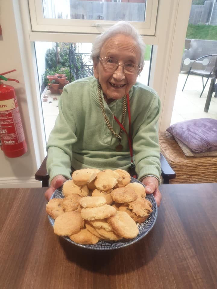 resident with her biscuits - little moments