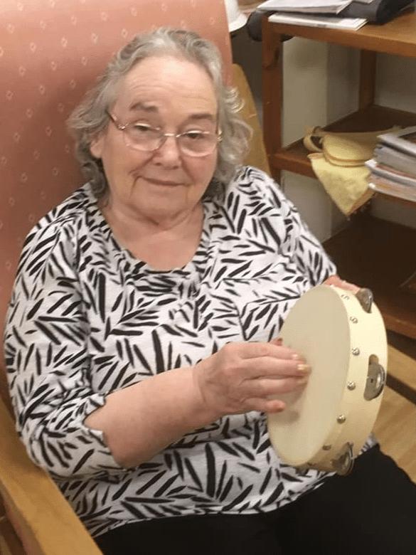 resident with tamborine 2 - benefit of music