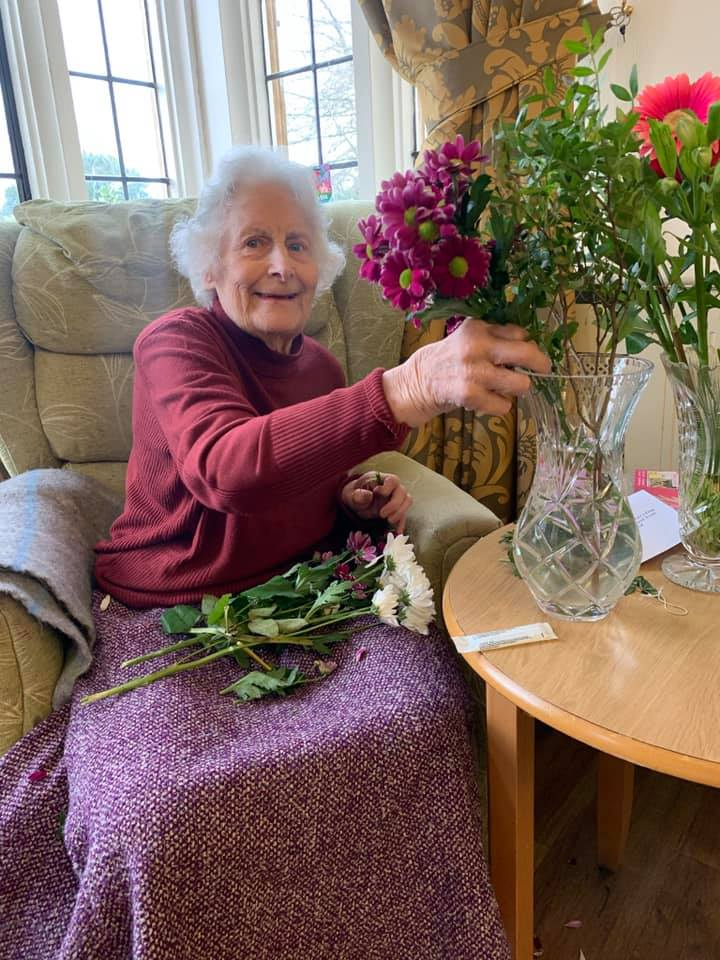 Resident flower arranging on Mothers Day