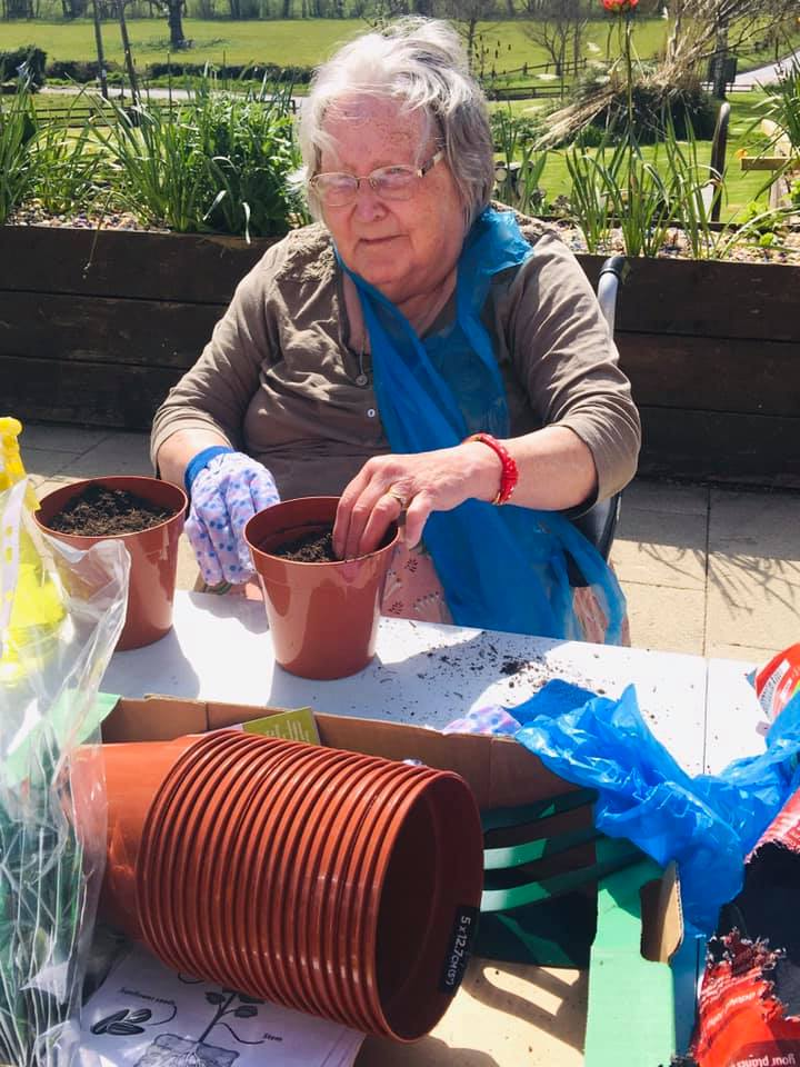 potting up on the patio
