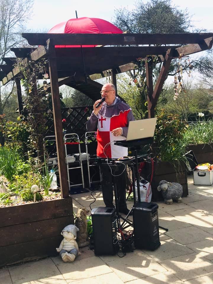 Trevor Santini entertaining on St georges day