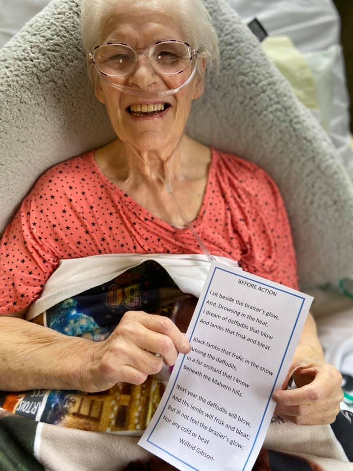 poetry session lady resident with a favourite poem
