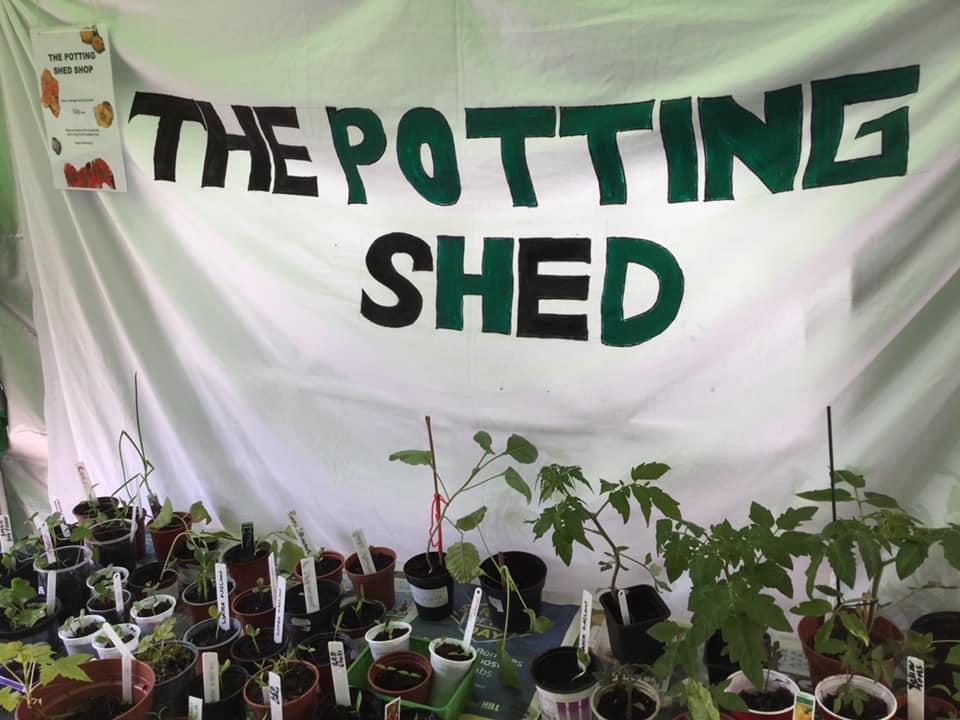 The Potting Shed set up
