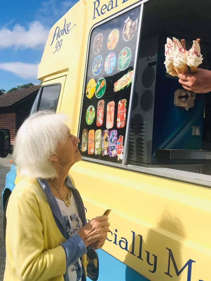 Jean at the ice cream van - West Eaton