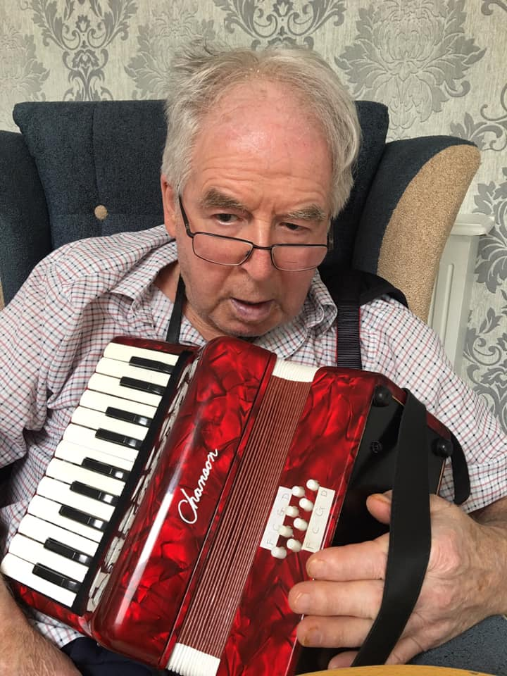 Mike on his piano accordion