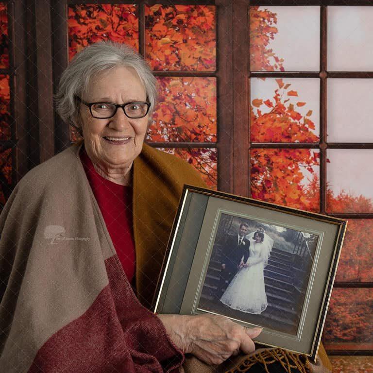 Lady with wedding photo - Autumn photo shoot